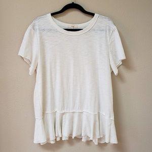 [Easel] White Peplum Hem T Shirt
